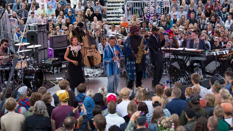 A jazz band perform at the Flow Festival in Helsinki