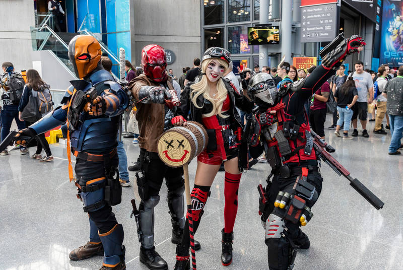 People dressed in cosplay costumes at Comic Con one of the events in New York