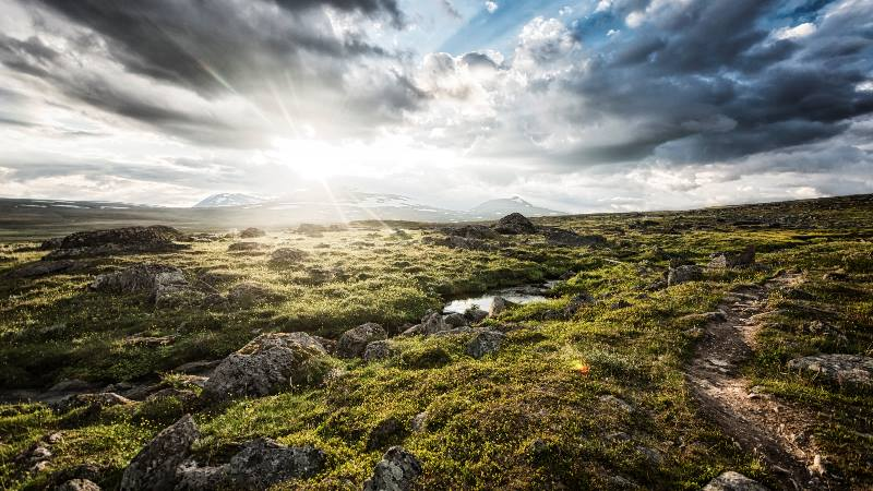 Landscape-of-Lapland-green-pastures-with-sun-reflecting-used-in-Bollywood-films