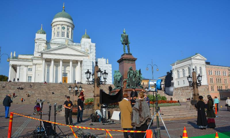 Film-set-outside-the-steps-to-Helsinki-Cathedral-also-used-for-Bollywood-films