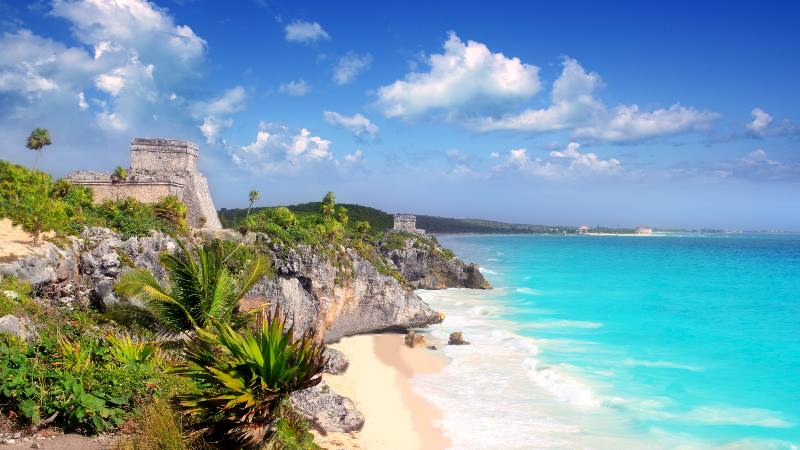 Ancient-ruins-on-the-Cancun-coastline-white-sands-blue-sea