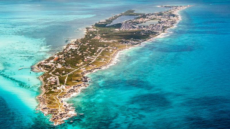 Ariel-view-of-Isla-Mujeres-off-Cancun