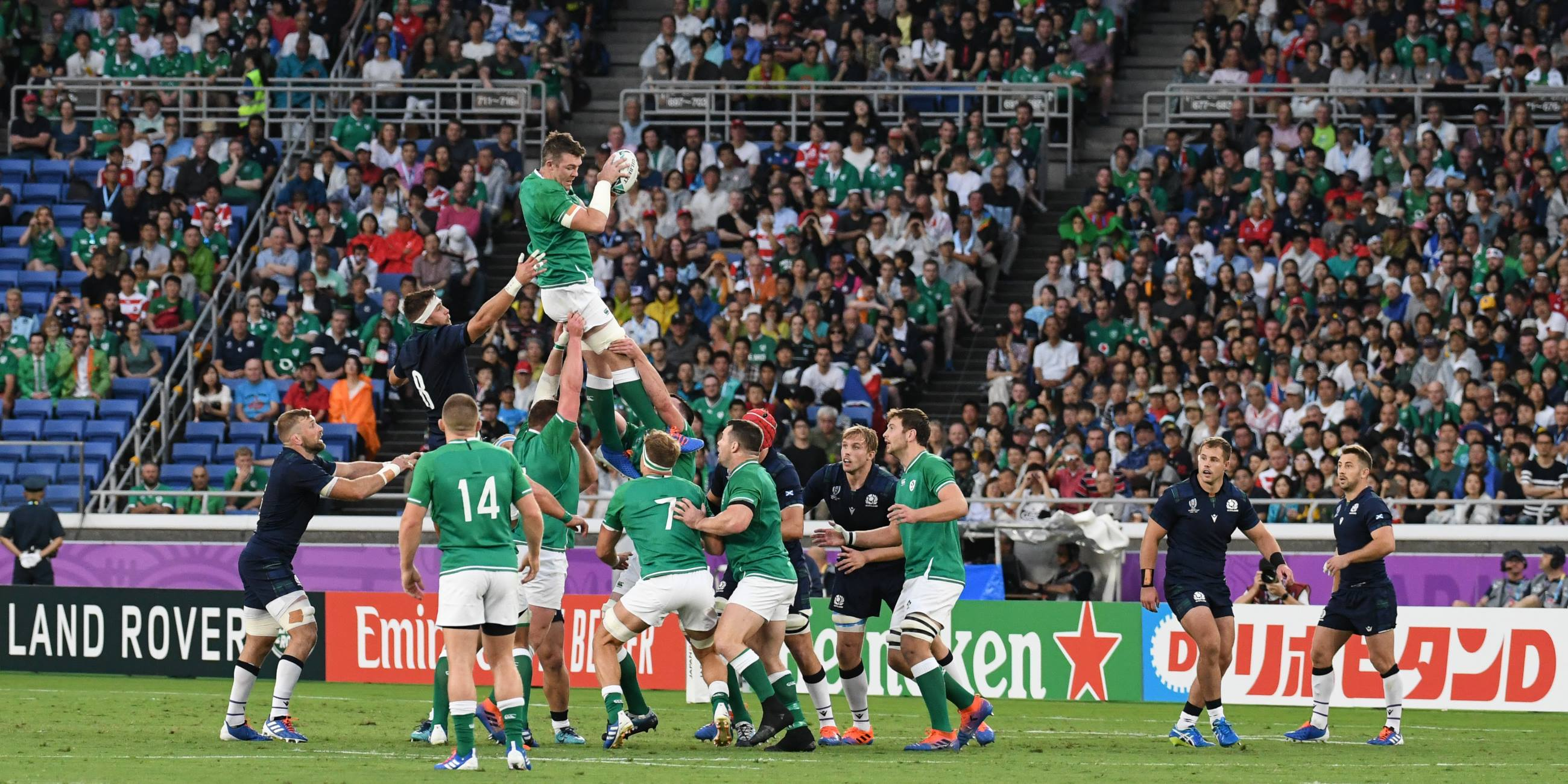 Ireland-rugby-players- jump-for-ball-trying-to- get-to-Rugby-World-Cup-Final – All Eyes on Yokohama