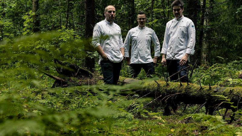 Three-chefs-of-the-restaurant-standing-in-the-woods