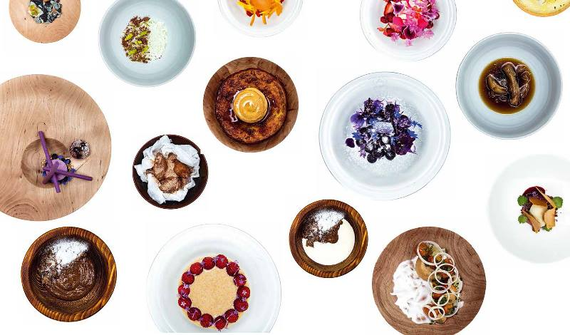 Plates of colourful food