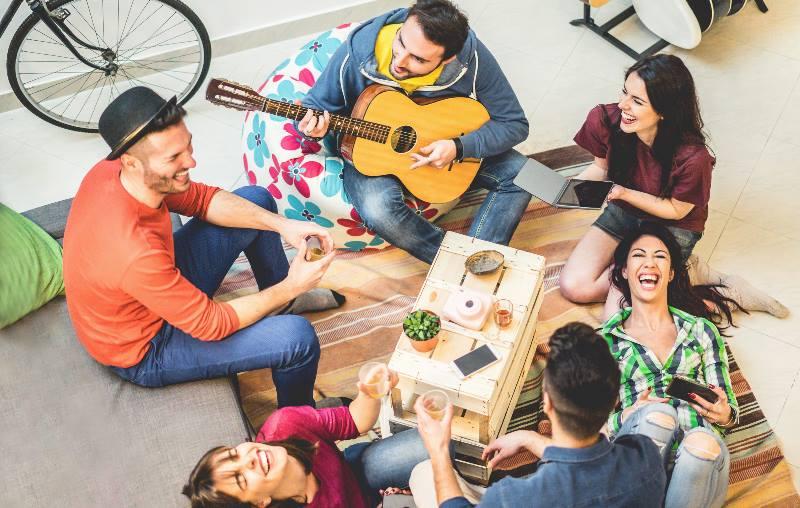People-enjoying-time-in-a-hostel