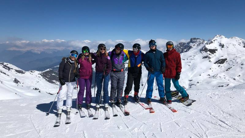 A-group-of-skiers-on-top-of-a-mountain-as-part-of-Skiing-destinations