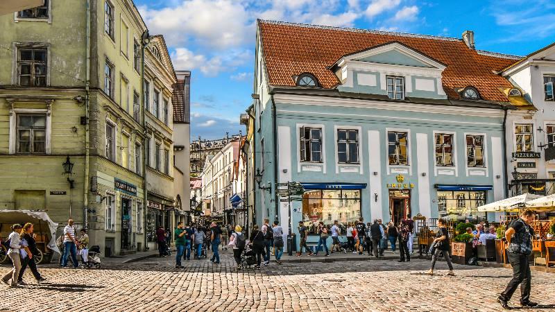 People walking along the street in Tallinn old town