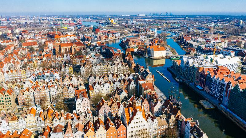 View-of-the-rooftops-of-buildings-in-the-old-town-gdansk-Poland-for-Winter