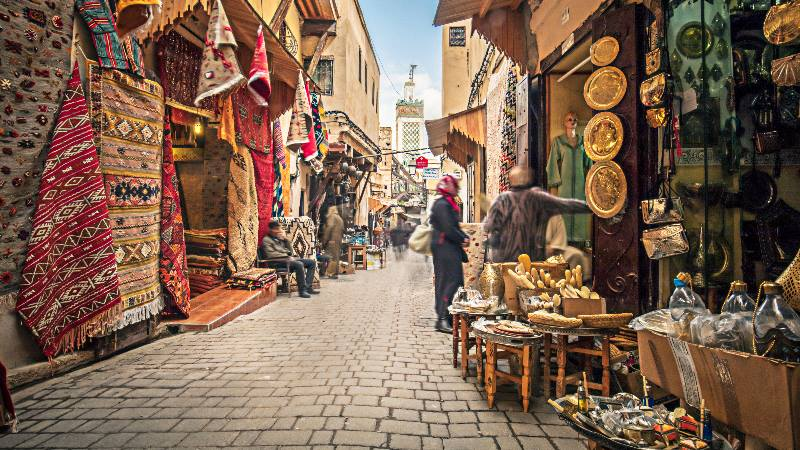 Stores-in-the-medina-streets-of-Fez-Morocco-isango-2020
