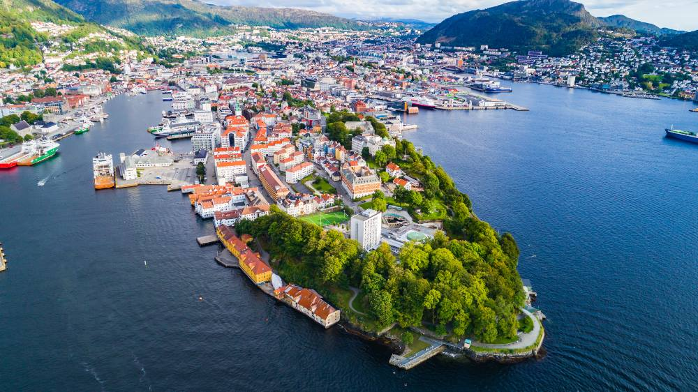 View-of-Bergen-old-town-from-the-air