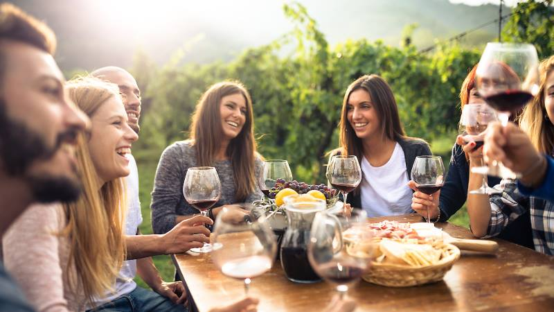 Group-of-friends-enjoying-food-and-drink-and-talking-mental-health