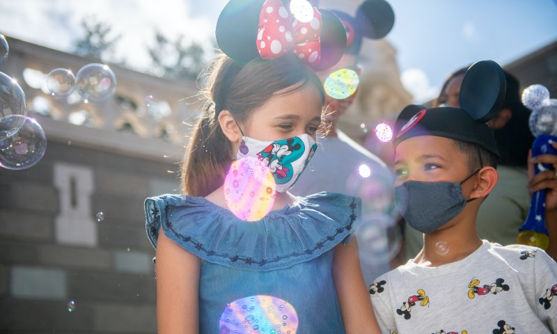 Children wearing face masks at Disneyland Paris