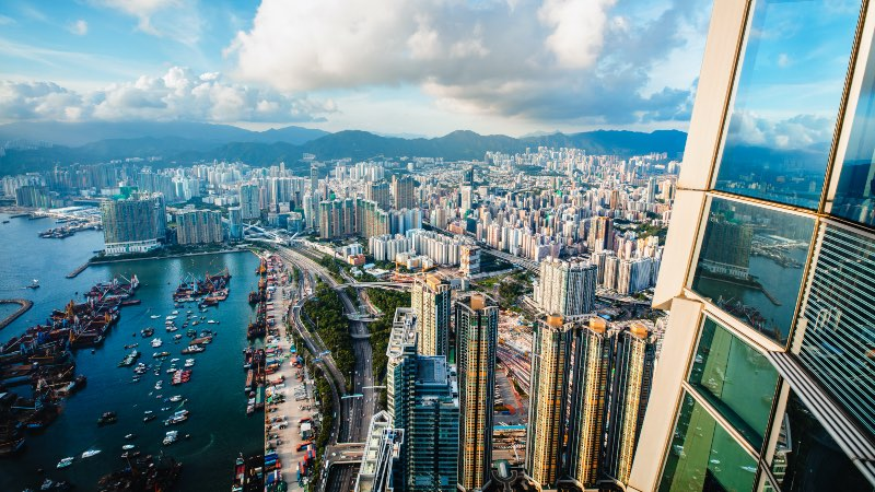 View of the bay from the Sky 100 platform in Hong Kong