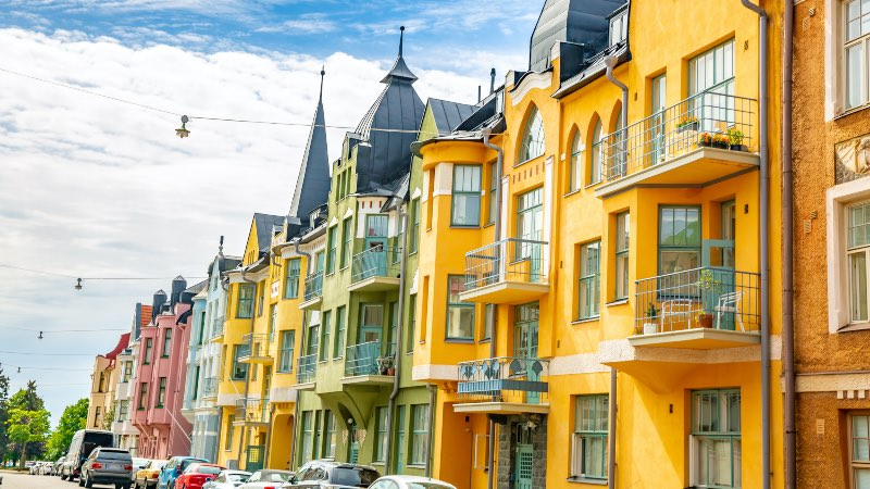 Colourful road with houses in Helsinki