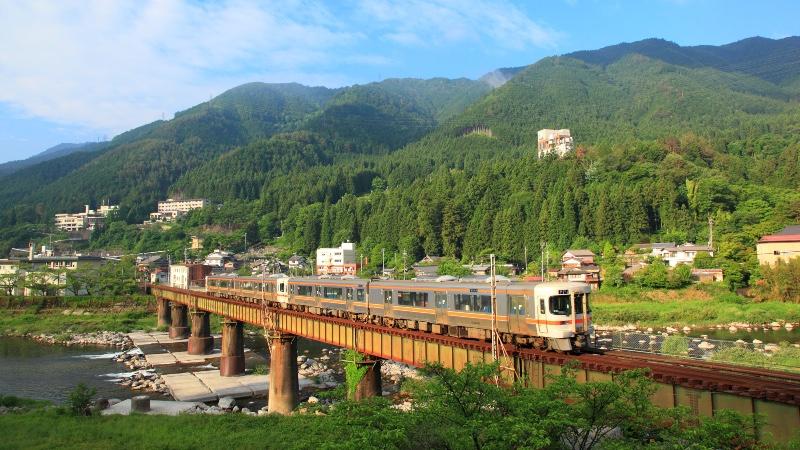 Train in Gero City in Gifu Prefecture