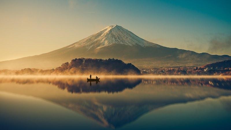 Mount Fuji with people on the lake - near Tokyo