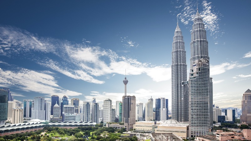 View of central Kuala Lumpur with the Petronas Towers