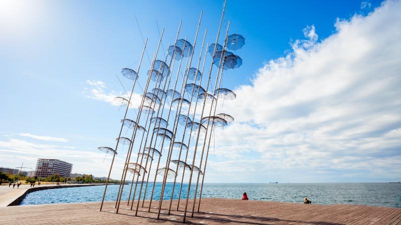 Thessaloniki umbrellas on the shore