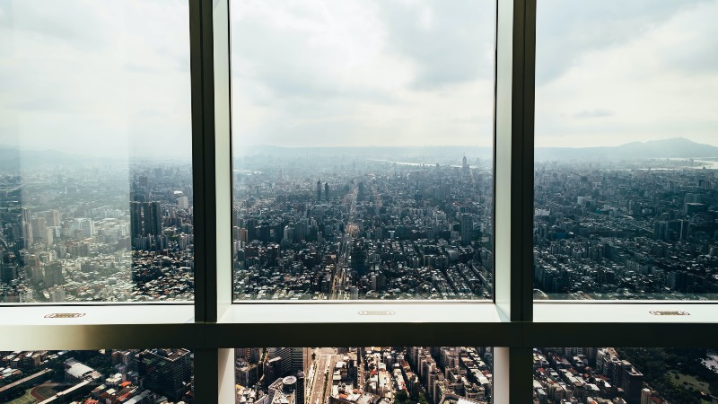 View looking out of the Taipei 101 building.